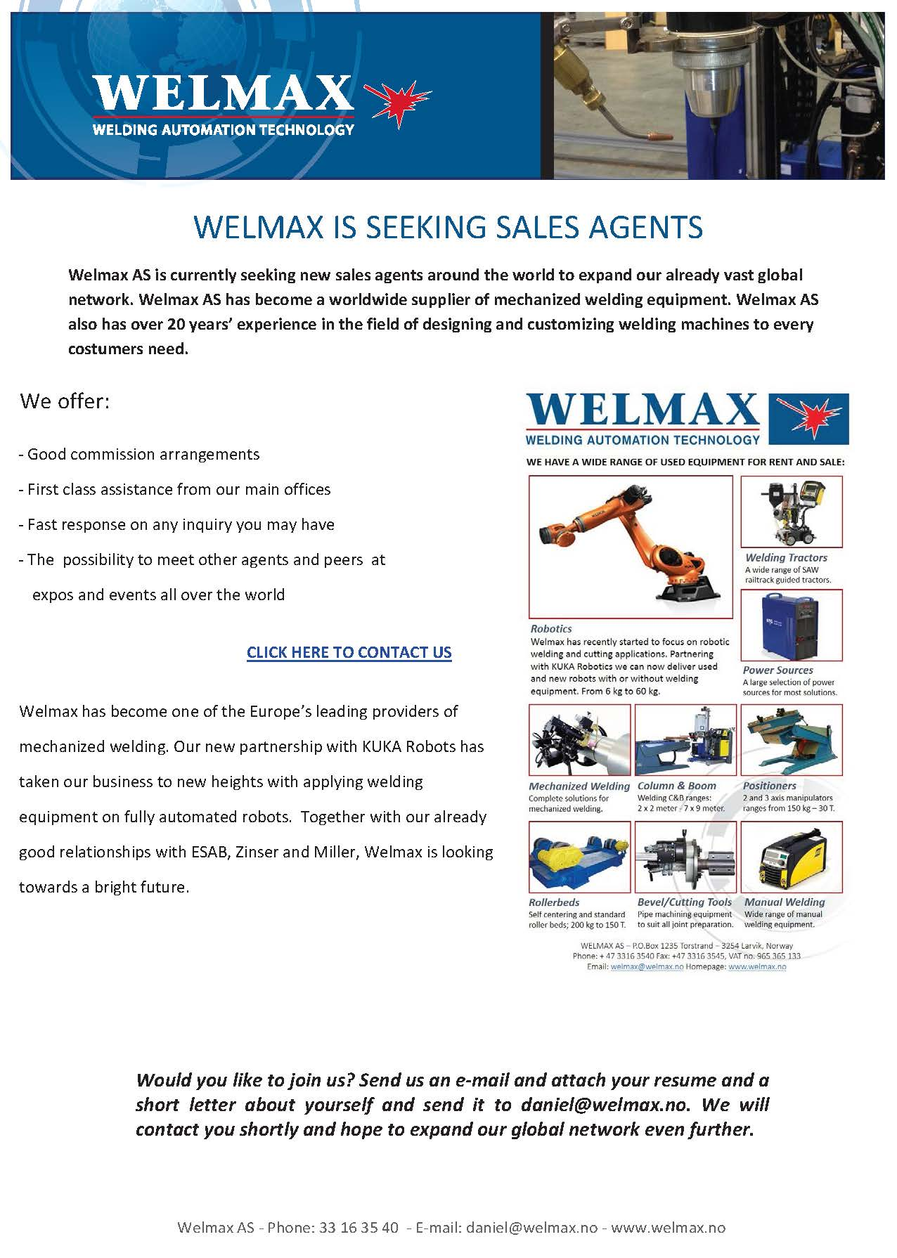 Welmax seeks new sales agents Final